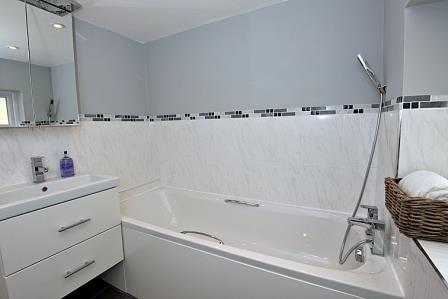 A bright modern bathroom