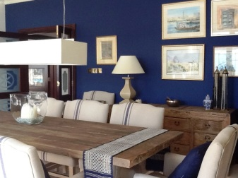 Blue walls and textured wood furniture