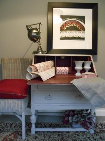 Grey Bureau with wallpaper and fabric swatches - Mood Board