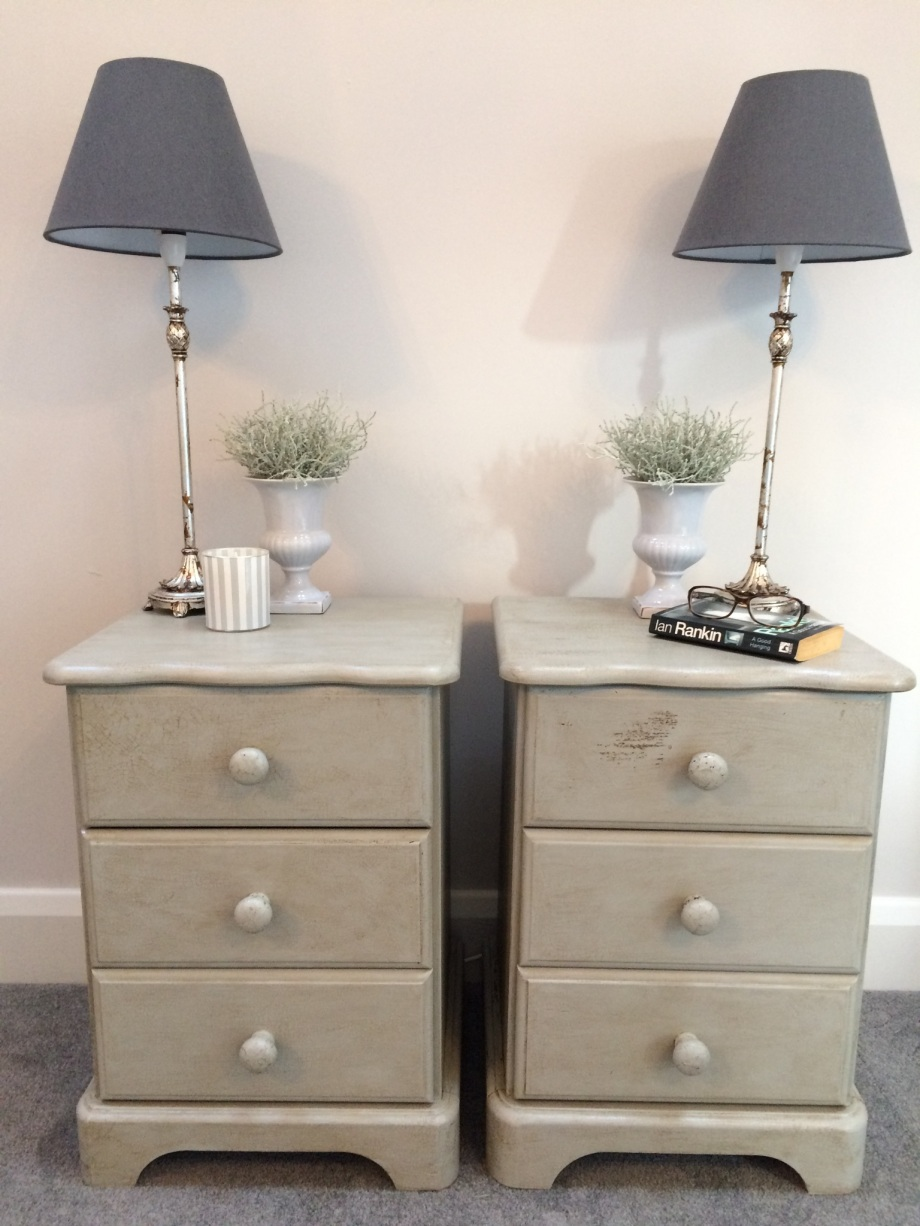 Light Grey Bedside Cabinets with drawers crackle glaze finish