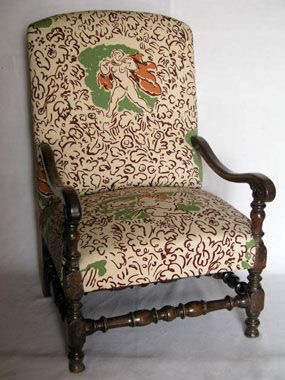 Chair covered in Duncan Grants West Wind Fabric Charleston Collection