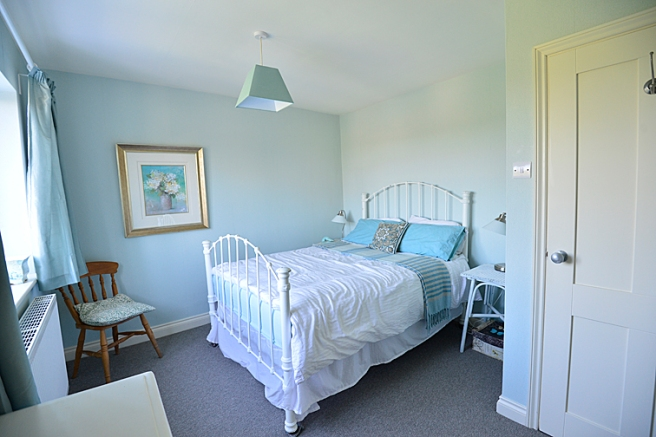 Calming, restful colour's in a bedroom.