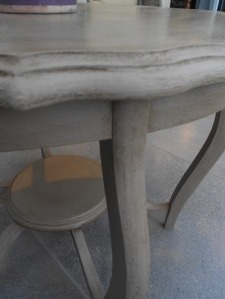 Painted in Annie Sloan Country Grey paint, slightly distressed and waxed. 54 cm dia x 73 cm h.  £85.00