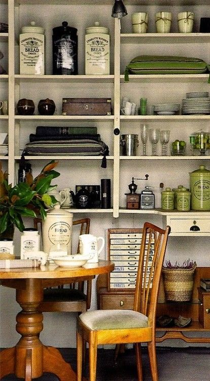 Use shelving storage to double as an attractive display.