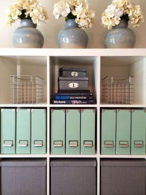 Attractive shelf storage in an office.
