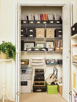 A well organised office cupboard
