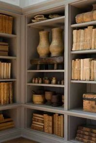 Books and collections grouped together in similar tomes creates interest.