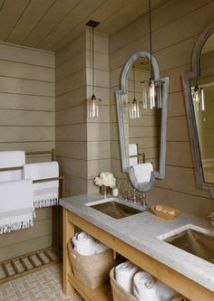 A natural coastal bathroom. designmusings.blogspot.com
