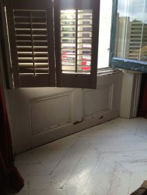 Painted floor and shutters. pinterest
