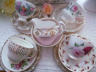 Mismatch of vintage china from Etsy.