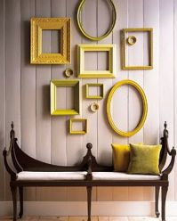 Yellow painted frames make an attractive display