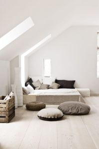 A contemporary bedroom using white
