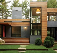 A modern design featuring lots of glass.