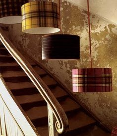Lampshades covered with fabric from Pinterest