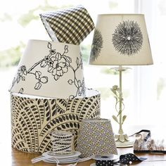 paper and fabric covered lamp shades from Housetohome