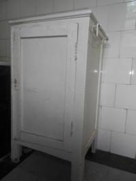 original bathroom cupboard, complete with rail for a hand towel. Watch out for the Annie Sloan paint!
