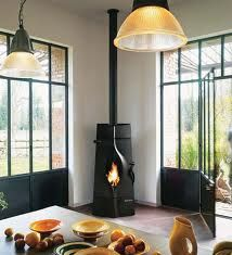 A corner free standing stove