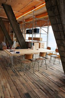 A wooden floor made from re-cycled pallets