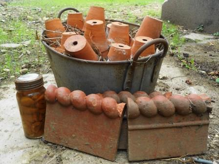 A collection of items found in the garden to be used. (not the jar of apricots).