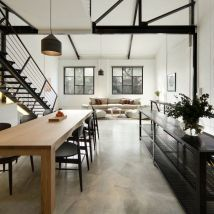Create an industrial look with a concrete floor.