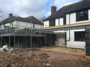 23rd Feb -Up to first floor level on the extension. Steel in place for the bi- fold doors
