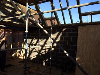 New joists and timbers of new roof