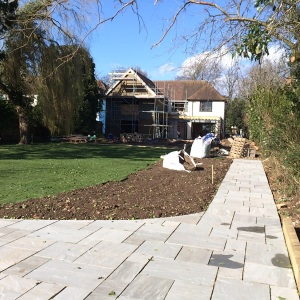 Terrace, path and turf laid - during landscaping.