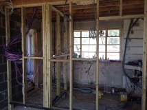 Wall partitions built to make kitchen, cloaks and utility rooms