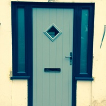 The new front door in French Grey