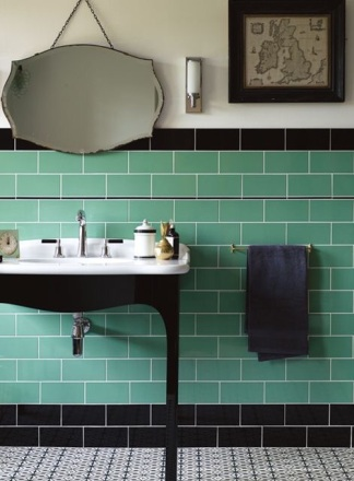 1930's inspired bathroom from Fired Earth http://www.firedearth.com/tiles/range/cinema/suitability/wall-bathrooms/page/2/mode/grid