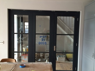 The glass partition in situ