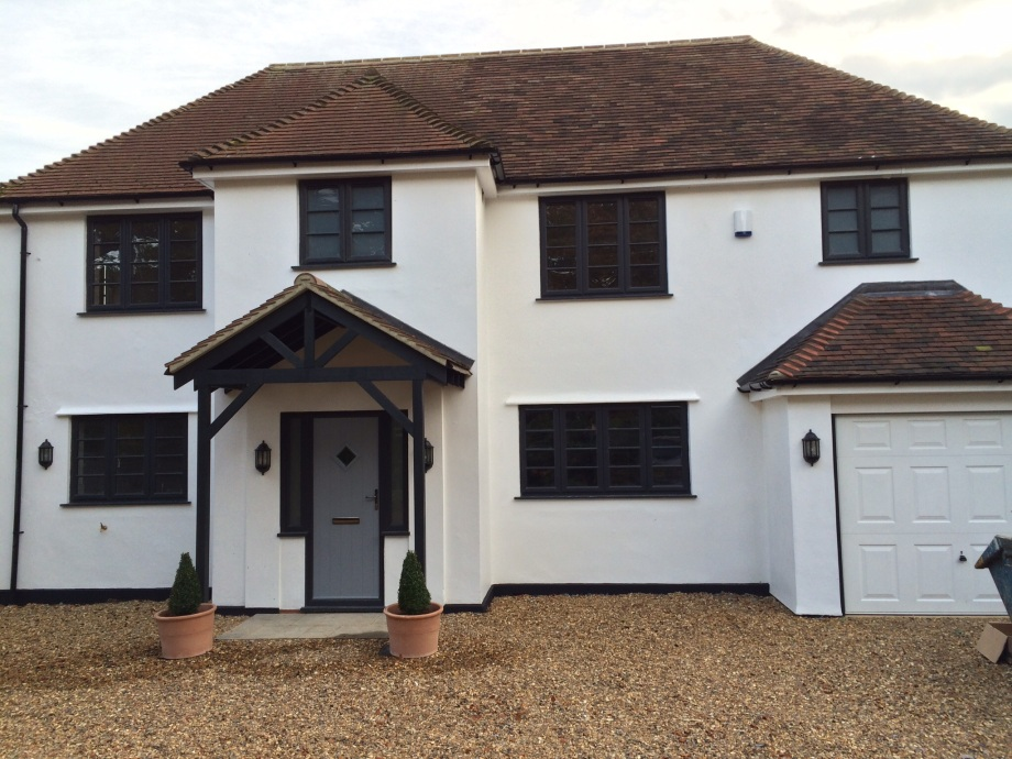 After - The completed front elevation of a 1930's house