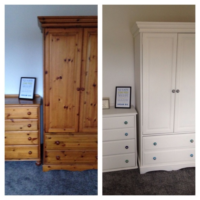 Before and after painted pine funiture