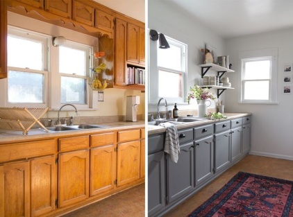 Before and after picture of an updated kitchen