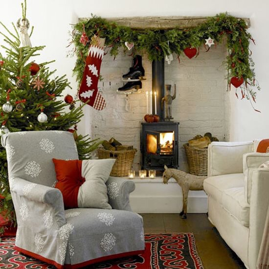A faux garland for a multi fuel stove works best