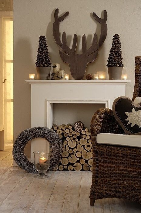 A faux fireplace decorated for Christmas