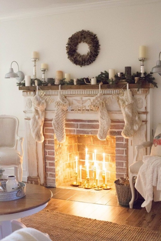 Candles in a hearth to imitate a real fire