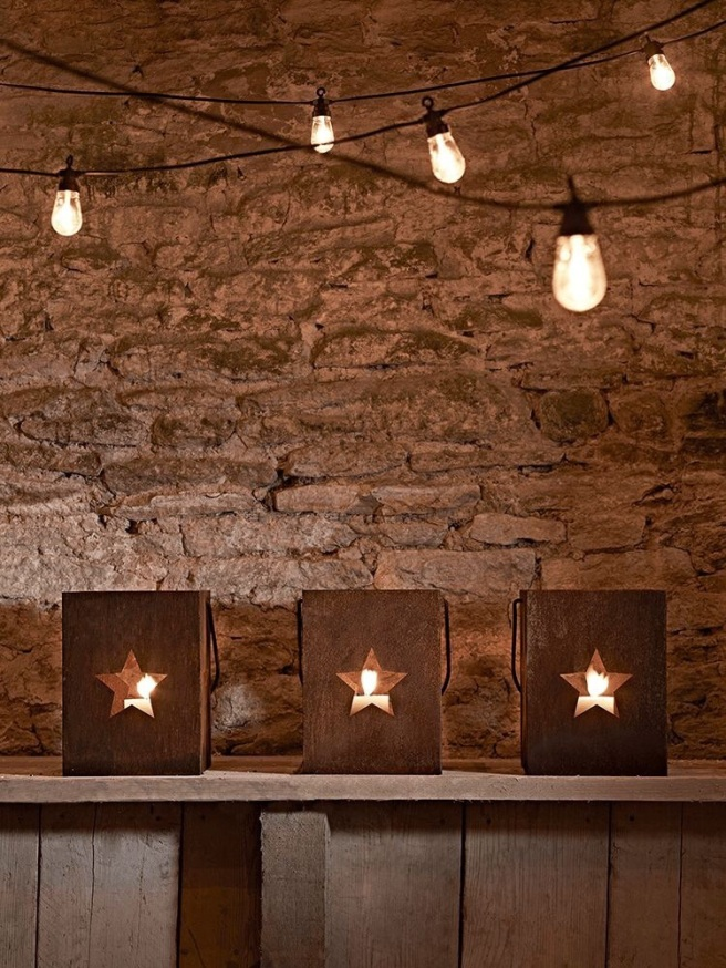 Rusted star lanterns from Cox and Cox