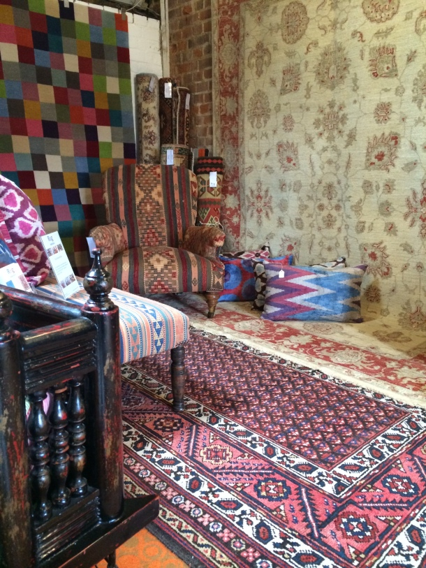 Kelim rugs, cushions and upholstered furniture