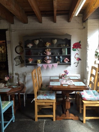 Interior of Vintage tea room and florist at Three Wise Monkeys vintage and arts emporium