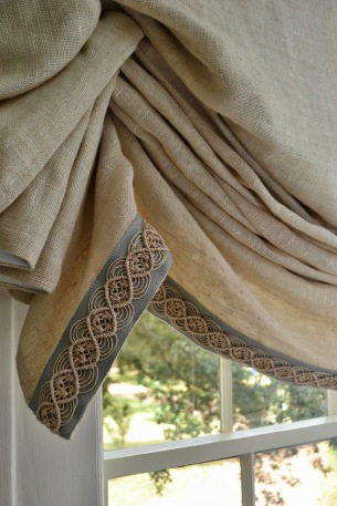 Linen blind edged with decorative trim