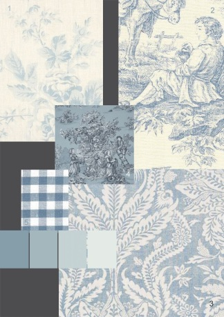 French Country fabric and wallpaper mood board by paper mulberry