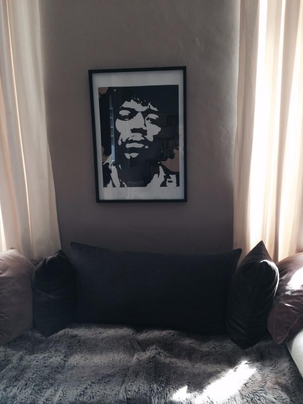Jimmy Hendrix hangs on wall in Chateau Latigolle