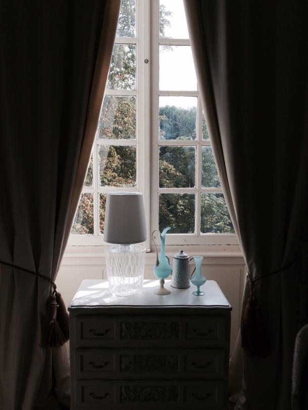 A glass window vignette at Chateau Latigolle
