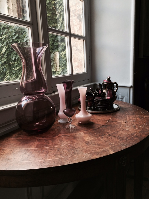A glass vignette on a table