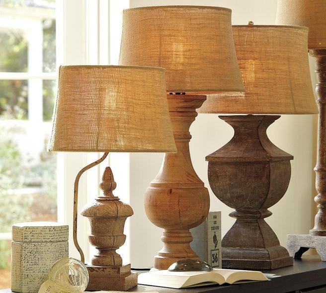 Burlap drum shaped lampshdes