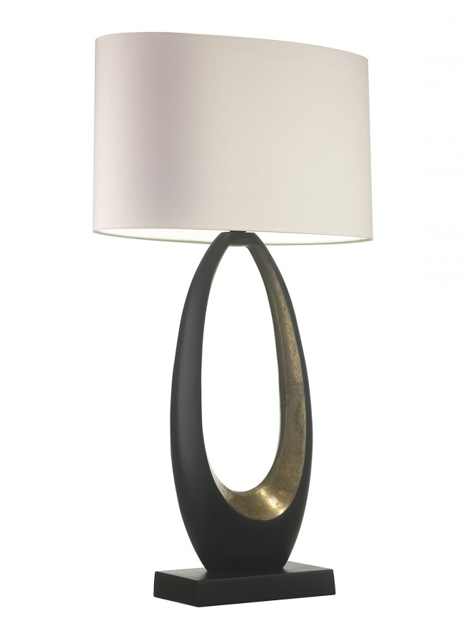Oval shaped lampshade on contemporary base by Obus