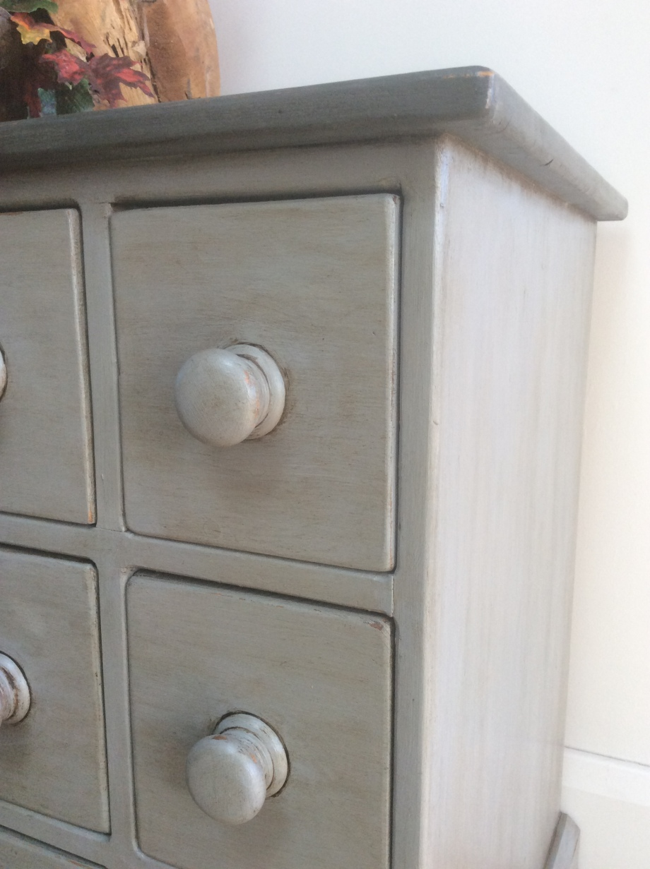 Close up detail of small multi chest of drawers