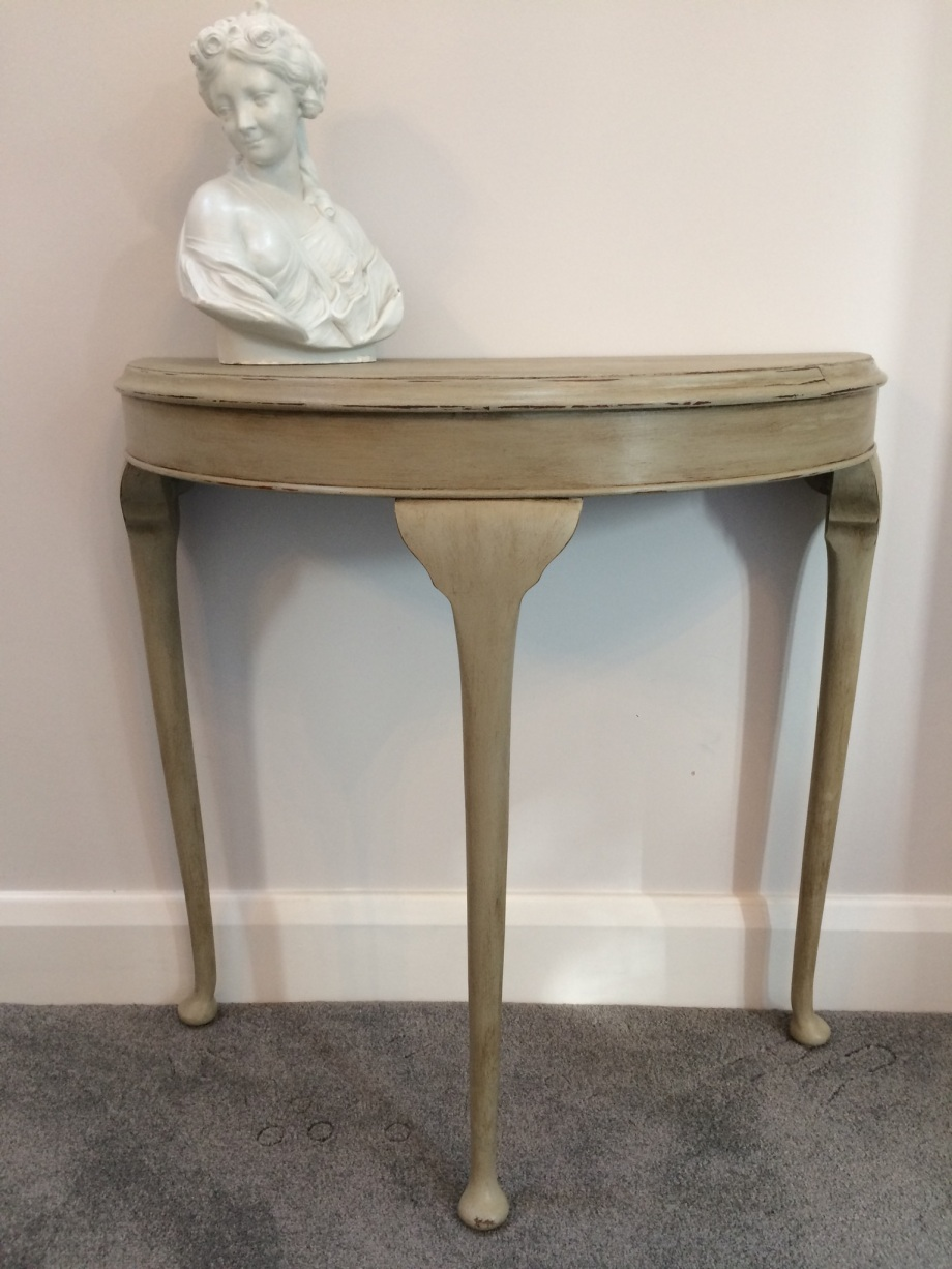 Console table in French linen chalk paint crackle glazed top slightly distressed.