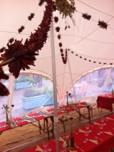 Chilli Garlands decorating a wedding marquee